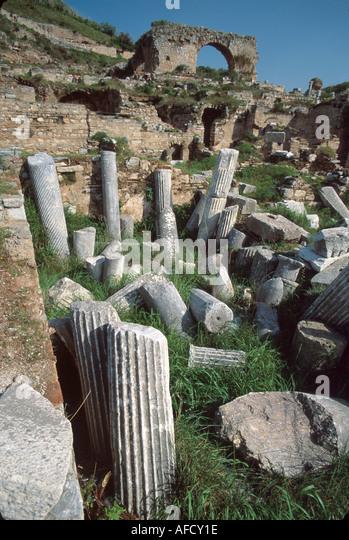 Turkey Selcuk Ephesus ruins of Greco Roman city BC320 columns near Baths of Scholastica - Stock Image