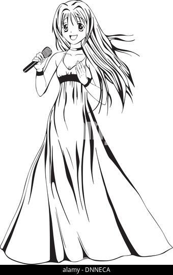 Anime girl singer. Black and white vector illustration. - Stock-Bilder