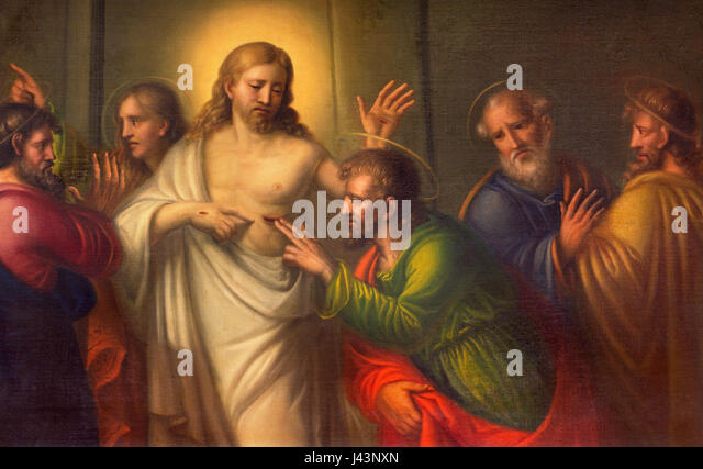 TURIN, ITALY - MARCH 13, 2017: The The painting  The Doubt of St. Thomas in Church Chiesa di Santo Tomaso by unknown - Stock Image