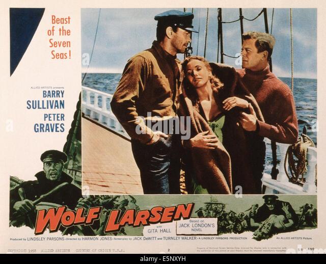 WOLF LARSEN, US lobbycard, Barry Sullivan, Gita Hall,  Peter Graves, 1958 - Stock Image