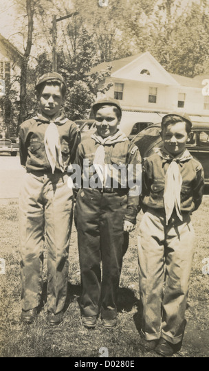 Circa 1930s photograph, three Boy Scouts, probably Massachusetts, New England, USA. - Stock Image