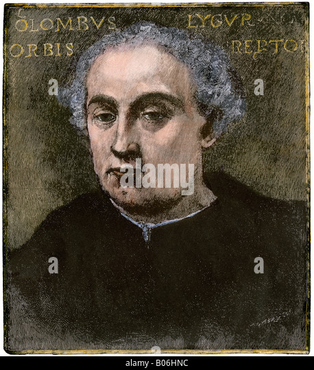 Portrait of Columbus discovered in Italy in the 19th century - Stock-Bilder