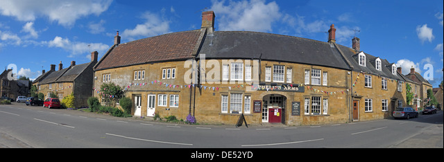 Phelips Arms panorama, Montecute, Somerset, England,UK - Stock Image