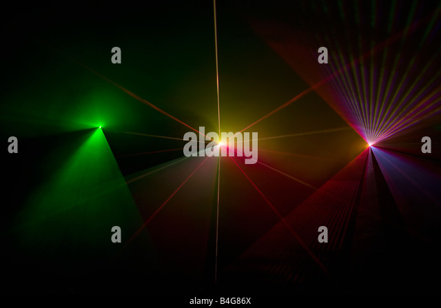 Multi colored laser lights - Stock Image