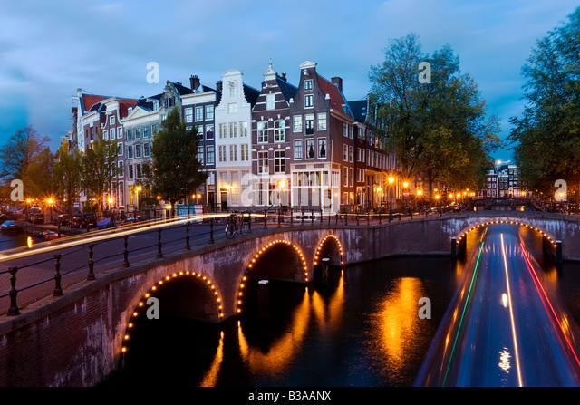 Holland, Amsterdam, Keizersgracht and Leidesegracht canals - Stock Image