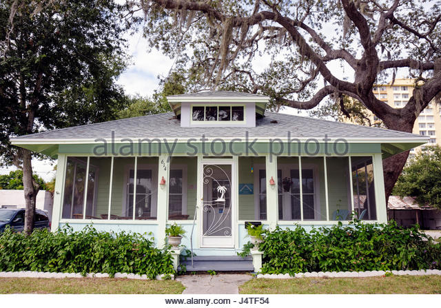 Melbourne Florida Historic Downtown Main Street revitalization preservation house bungalow facade screened porch - Stock Image