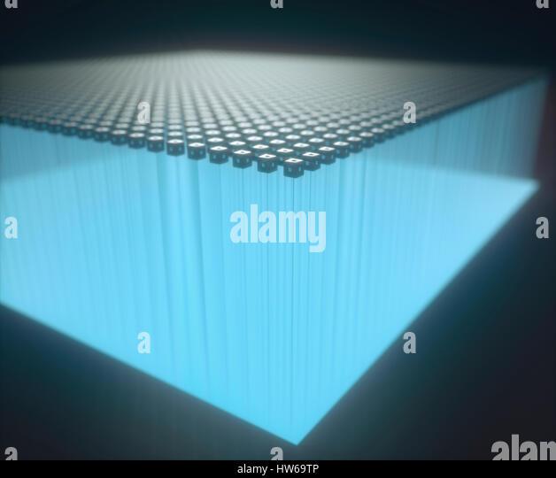 Illuminated blue cubes, illustration. - Stock-Bilder