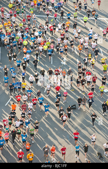 Participants  at the Barcelona Marathon 2010. - Stock Image