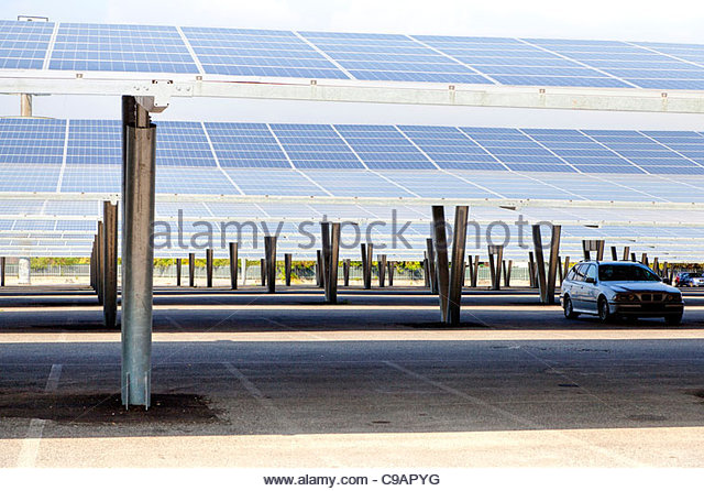 Solar panel parking lot - Stock Image