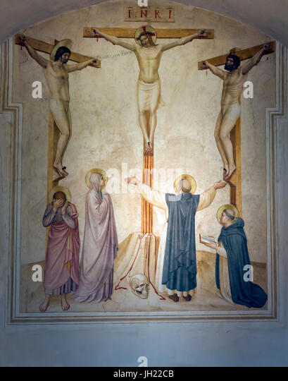 Crucifixion with Mourners and St Dominic and Thomas Aquinas, by Fra Beato Angelico, 1441-1442, Cell 37,Convent of - Stock Image