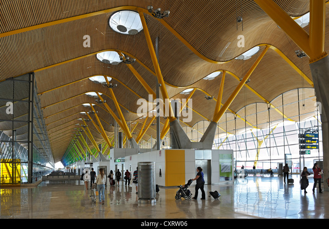 Madrid Airport, terminal with passengers, Spain, Europe - Stock Image