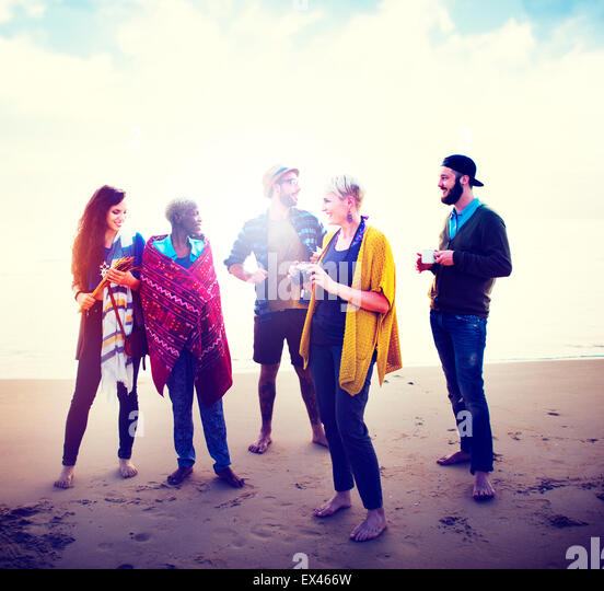 Friendship Relaxing Beach Morning Talking Concept - Stock-Bilder