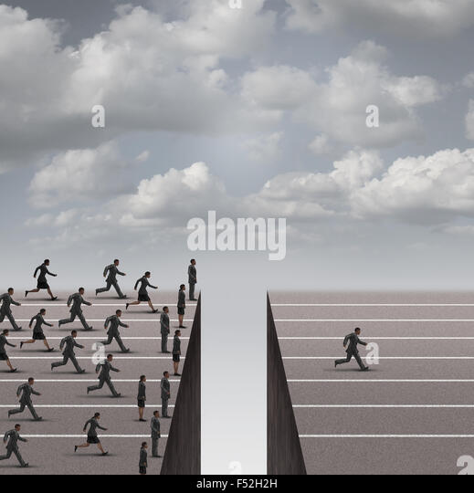 Solution leadership business concept as a group of business people running but blocked by a deep hole obstacle and - Stock-Bilder