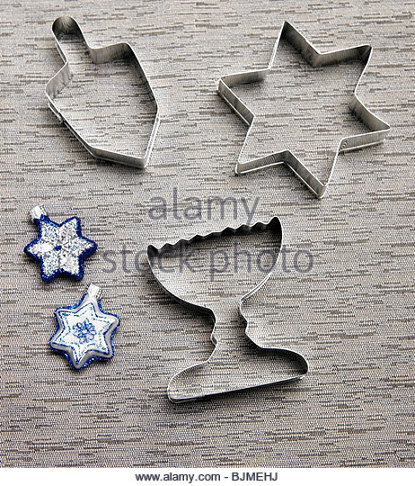 Hanukkah Cookie Cutters and Place Settings - Stock Image