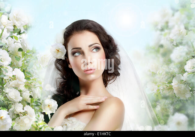 Sentiment. Perfect Exquisite Woman with Flowers over Vernal Floral Background - Stock Image