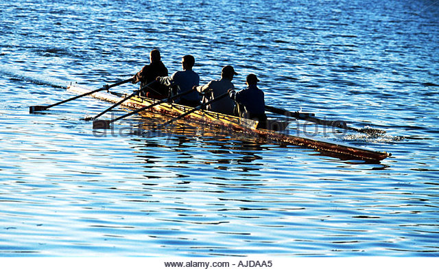On the rowing boat - Stock Image