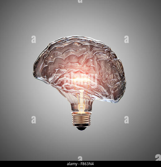Glowing Light Bulb with the glass shaped as a Brain. This 3D image is conceptual of an active, creative, thinking - Stock Image