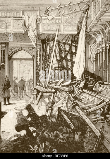 Damage in the House of Commons, London after Fenian bomb attack in January 1885 - Stock Image