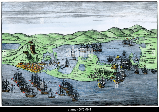 British naval invasion of Cartagena, Colombia, 1741. - Stock Image