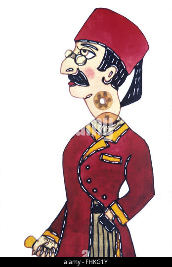 Caricature Puppet of Turkish Dandy, aka çelebi, a Sophisticated Urban Aristocrat from Istanbul or Other Large - Stock Image