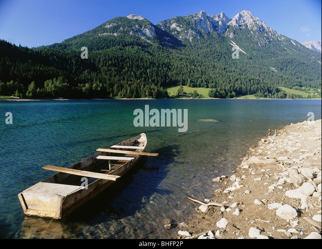 geography / travel, Austria, Tyrol, landscapes, Hintersteiner See, near Scheffau, Europe, Alps, mountains, Lake - Stock Image