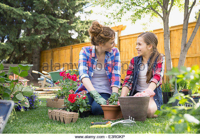 Mother and daughter planting flowers in garden - Stock Image