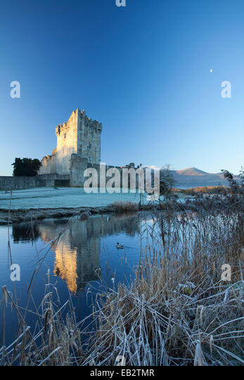 Winter at Ross Castle, Lough Leane, Killarney National Park, County Kerry, Ireland. - Stock Image