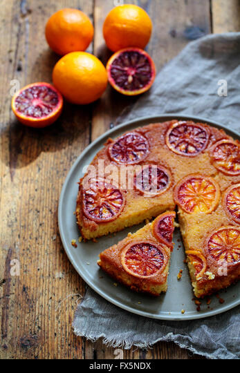 Blood orange cake - Stock Image
