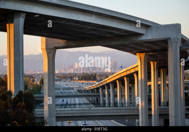 California CA Los Angeles L.A. Interstate 110 105 I-110 I-105 Harbor Freeway highway overpass freeway motorway interchange - Stock Image