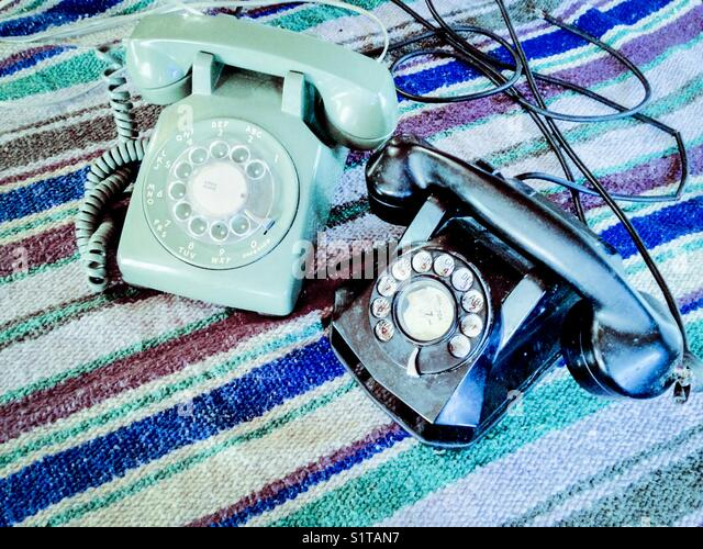 Vintage rotary dial telephones - Stock Image
