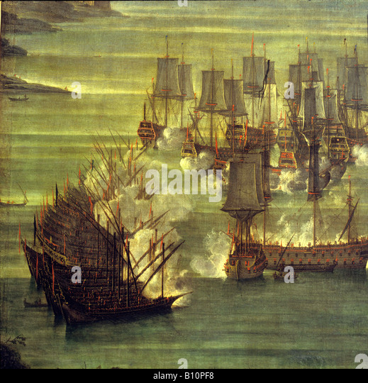 Sea battle at Lepanto between Venetians and Turks Painting Copyright AAA Collection - Stock Image