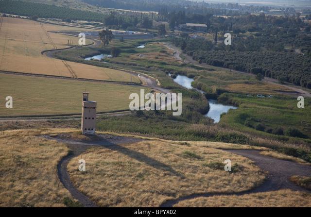 Aerial photograph of Tel Shokek in the Jordan valley - Stock Image