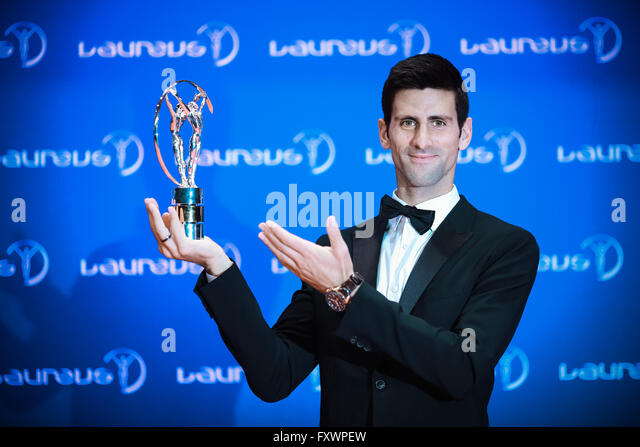 Berlin, Germany. 18th Apr, 2016. Novak Djokovic of Serbia poses with his Laureus World Sportsman of the Year trophy - Stock Image