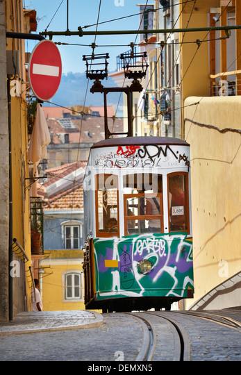 Lisbon transport tramway, Tram, 'Elevador da Bica' Portugal - Stock Image