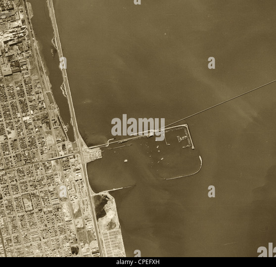 historical aerial photograph Berkeley Marina, 1946 - Stock Image