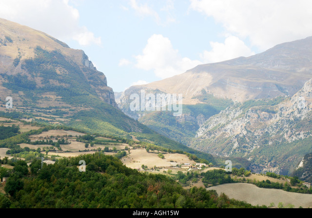 View of the Sibillini Mountains from Montefortino,Le Marche Italy - Stock Image