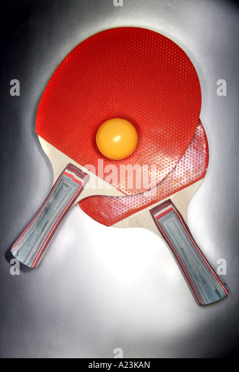 Table tennis bats and balls - Stock Image