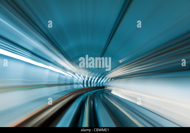 Train moving in subway tunnel - Stock Image