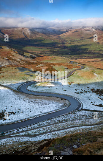 Winding road to Edale Valley from Mam Tor, Peak District UK - Stock Image