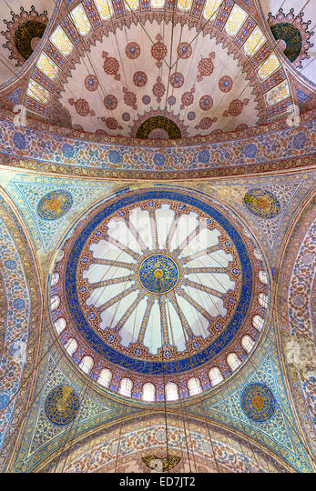 Embellished ornate domes of the Blue Mosque, Sultanahmet Camii or Sultan Ahmed Mosque in Istanbul, Republic of Turkey - Stock Image