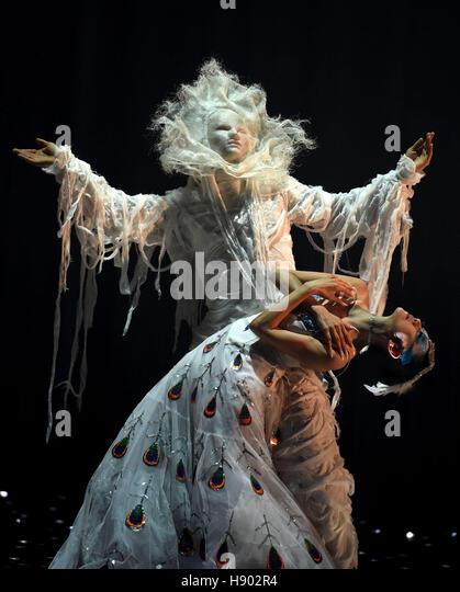 Kunming, China's Yunnan Province. 16th Nov, 2016. Chinese dancing master Yang Liping (below) performs in her - Stock Image