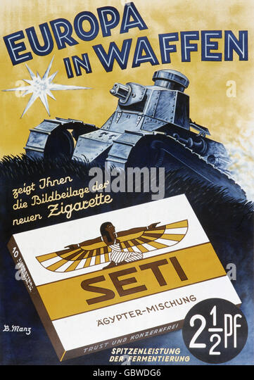 Seti cigarettes, advertising by B.Manz, 1930s - Stock Image
