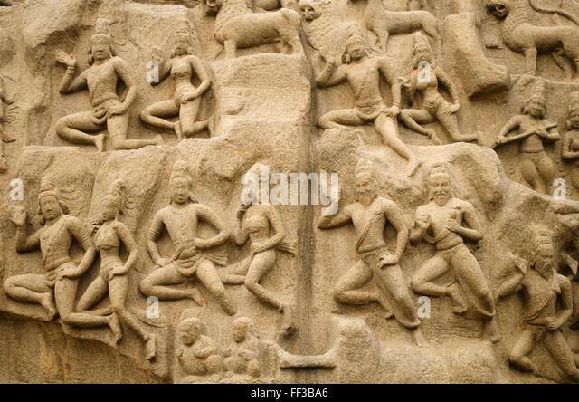 Arjuna's Penance at Mahabalipuram, Tamil Nadu, India - Stock Image