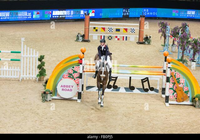 The Liverpool International Horse Show , January 2016 , UK.  William Fletcher on Unique IX - Stock Image