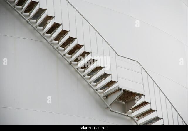Low Angle View Of Stairs Against The Wall - Stock Image