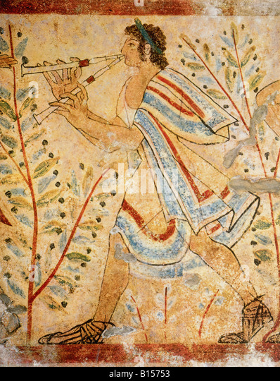 fine arts, ancient world, Etruscans, painting, man plying flute, Tomba dei Leopoardi, Tarquinia, circa 450 BC, Etruria, - Stock Image