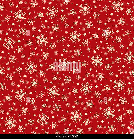 Christmas background of snowflakes and stars - Stock Image
