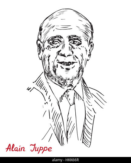 Alain Marie Juppe, French politician and a member of The Republicans political party, drawn by hand illustration, - Stock Image