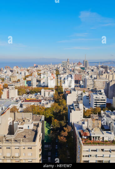Uruguay, Montevideo, Cityscape viewed from the City Hall(Intendencia de Montevideo). - Stock Image