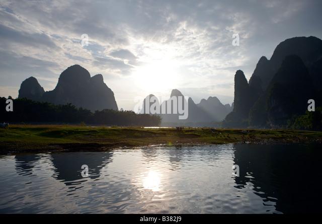 Xing Ping village Guilin district China - Stock Image